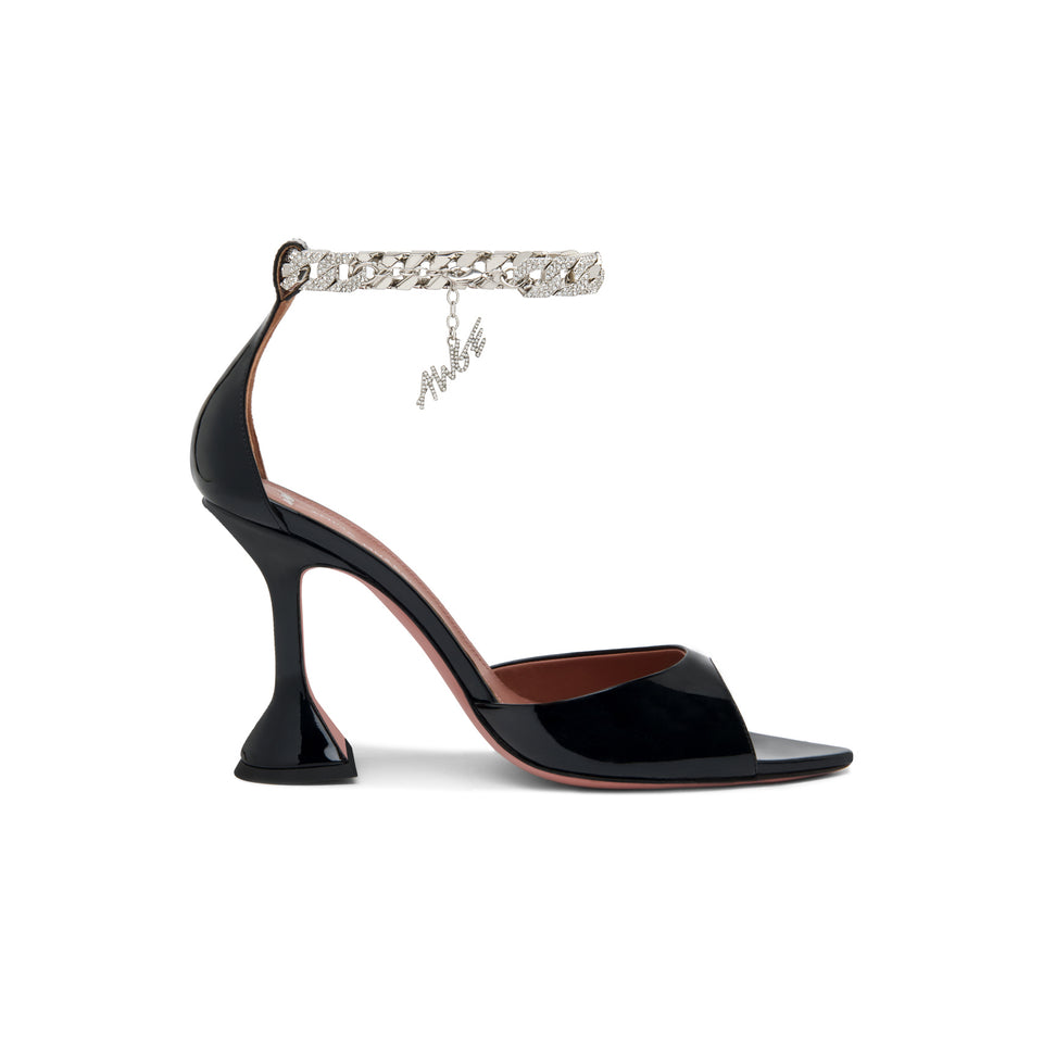 FLACKO SANDAL – BLACK PATENT AND SILVER CRYSTAL CUBAN LINK CHAIN