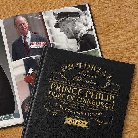 Personalised deluxe pictorial book of the life of Prince Philip