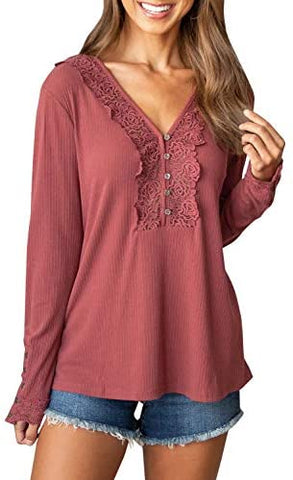 Womens Embroidered V Neck Shirt Button Down Long Sleeve