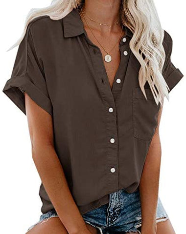 Womens Summer Button Down Shirts Pocket Short Sleeve