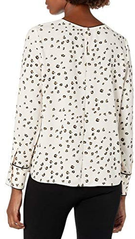Women's Crepe de Chine Long Sleeve Contrast Piping Detail Blouse