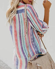Womens Tops Rainbow Striped Shirt Collar Blouses Long Sleeve