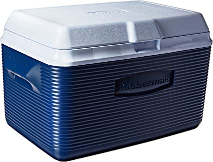 RubberMaid 34 Qt. Victory Value Pack (5 Qt Cooler + (4) Blue Ice Block) - Blue