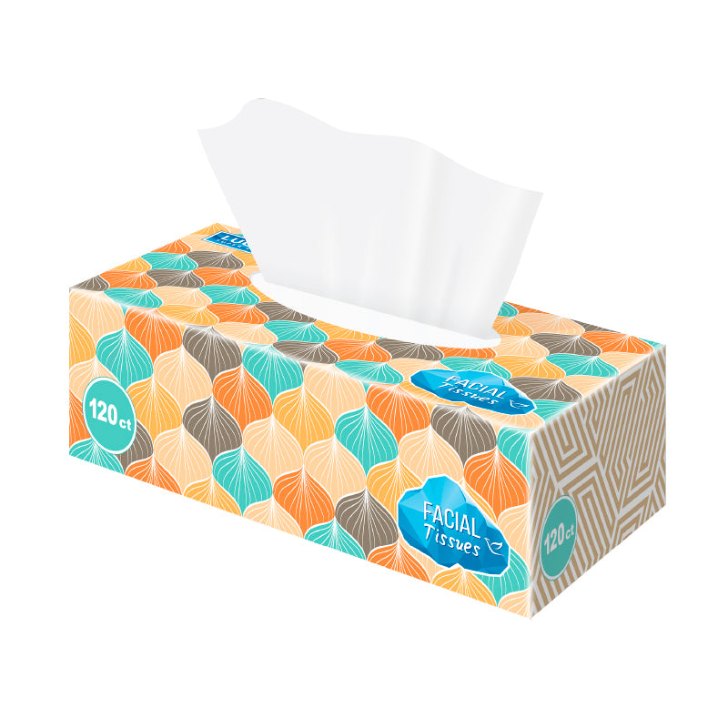 Facial Tissues - Flat Box - 12/120 Ct