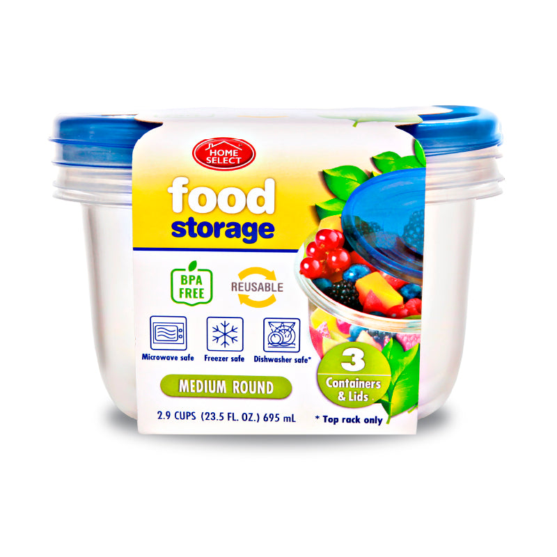 3 Food Storage 2.9 Cups - Medium Round