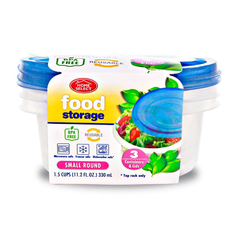 3 Food Storage 1.5 Cups - Small Round