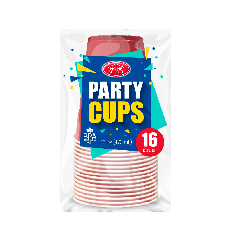Plastic Party Cups - Red 16Oz