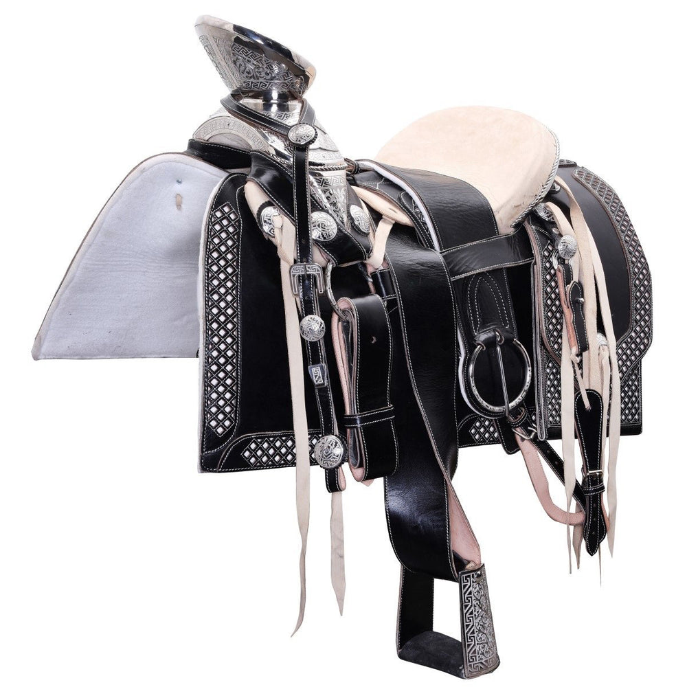 Load image into Gallery viewer, Black leather Mexican saddle.