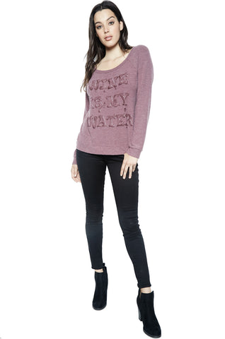 Brenna Wine is My Water L/S Pullover - Lauren Moshi