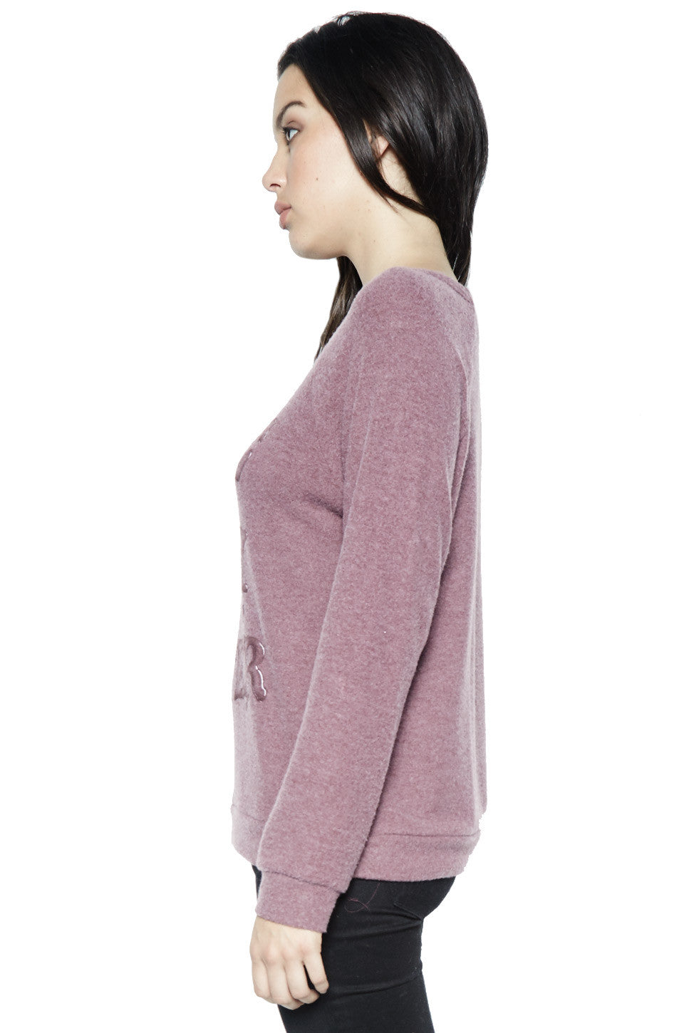 Lauren Moshi Women's Brenna Wine is My Water L/S Pullover - Sangria