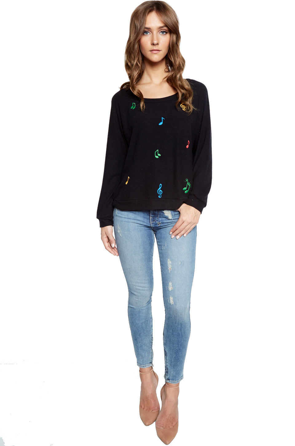 Lauren Moshi Women's Brenna Color Music Note Embroidery L/S Pullover