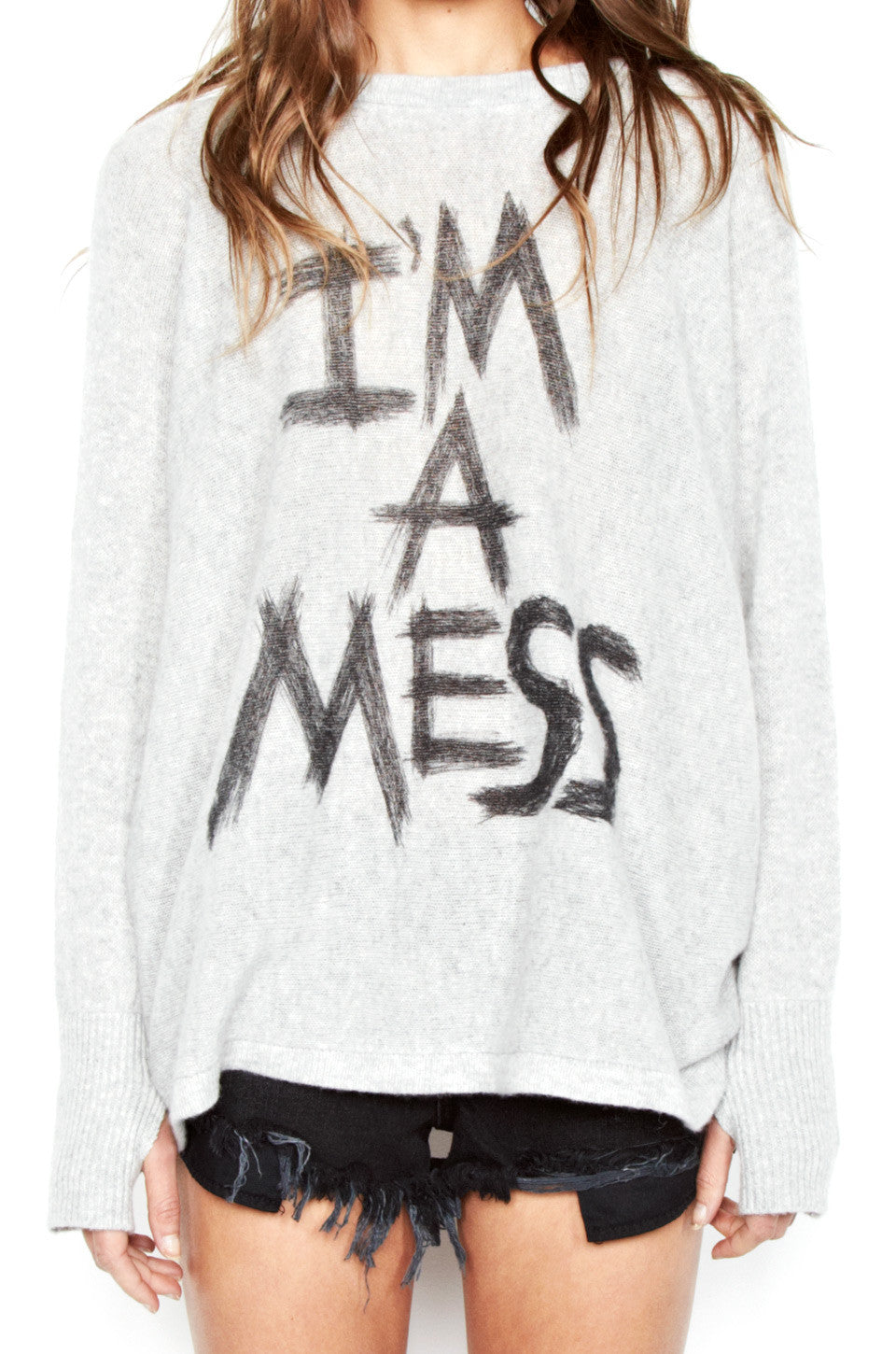 Hollis I'm A Mess L/S Cashmere Pullover Sweater w/Thumbholes - Lauren Moshi - 5
