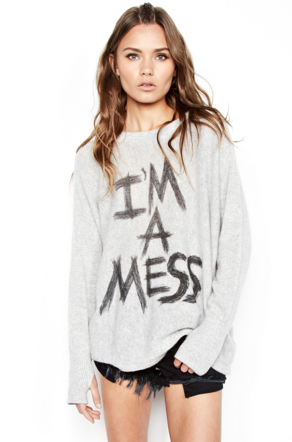 Hollis I'm A Mess L/S Cashmere Pullover Sweater w/Thumbholes - Lauren Moshi - 1