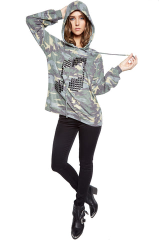 Lauren Moshi Women's Markie Pyramid Stud Music Notes Draped Pullover w/Hood - Vintage Camo