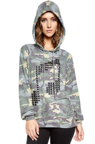 Lauren Moshi Women's Markie Pyramid Stud Music Notes Draped Pullover w/Hood