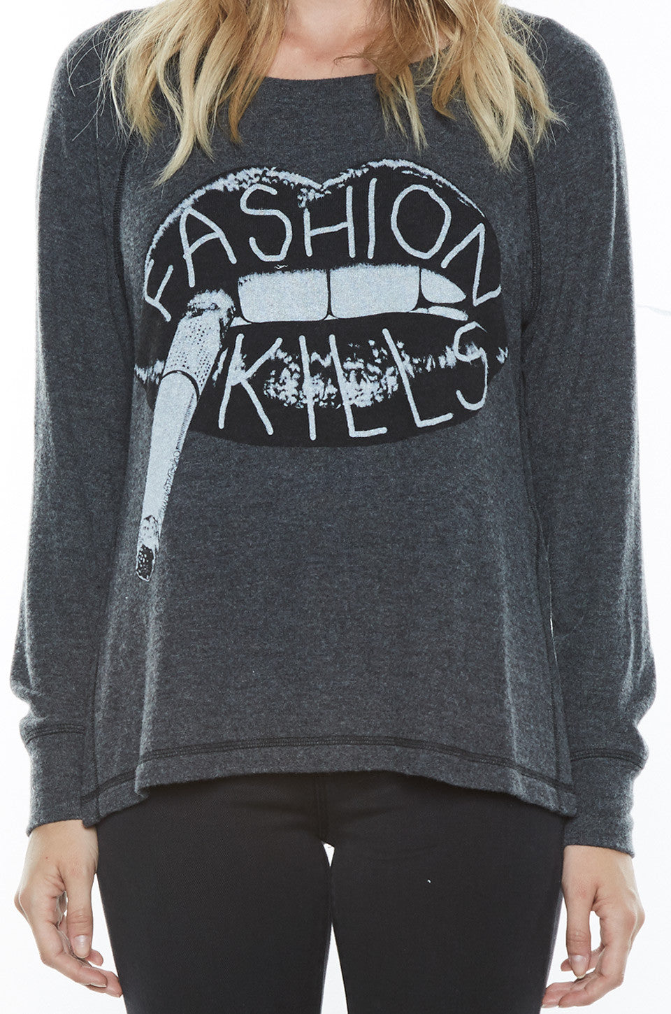 Amor Fashion Kills L/S Pullover Sweater w/Slit - Lauren Moshi - 5