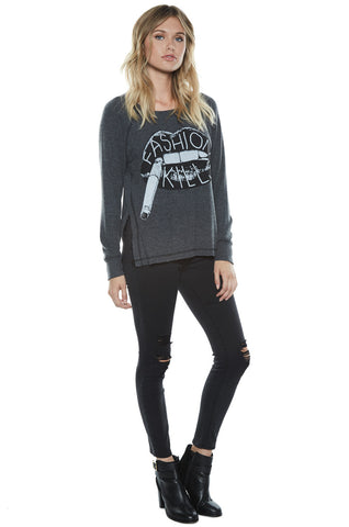 Amor Fashion Kills L/S Pullover Sweater w/Slit - Lauren Moshi - 2