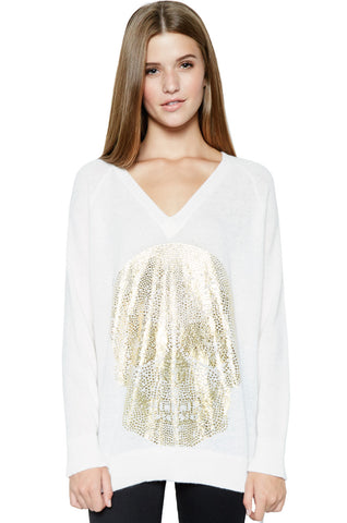 Hollis Rose Gold Foil Lip L/S Cashmere Pullover Sweater w/Thumbholes