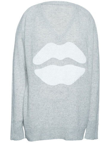 Macall White Mouth Oversized V-Neck Cashmere Sweater - Lauren Moshi - 2