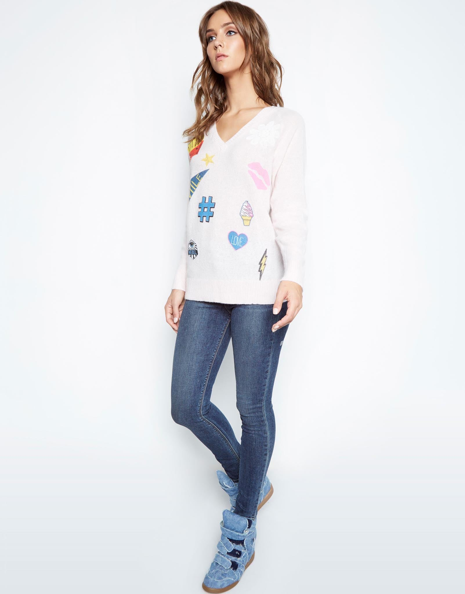Macall Love & Smile Oversized V-Neck Cashmere Sweater - Lauren Moshi