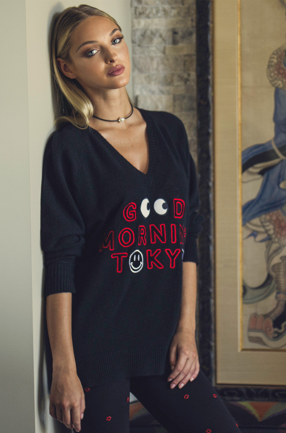 Macall Good Morning Tokyo Oversized V-Neck Cashmere Sweater - Lauren Moshi - 1