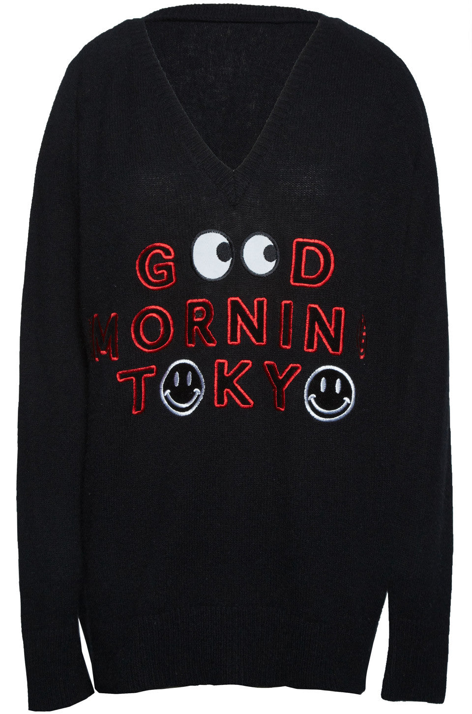 Macall Good Morning Tokyo Oversized V-Neck Cashmere Sweater - Lauren Moshi - 2