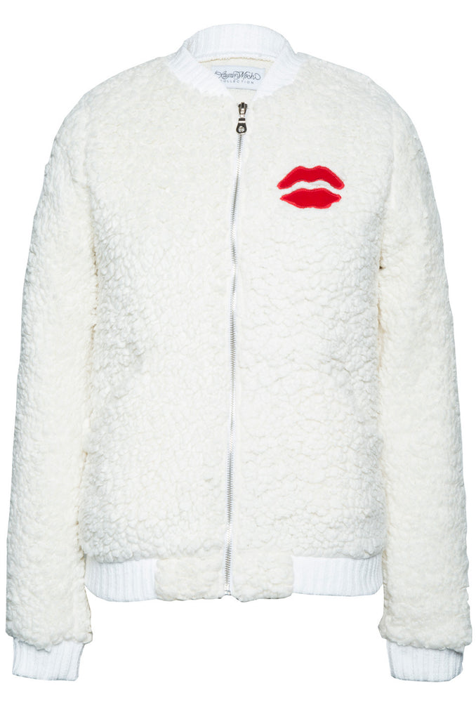 EXCLUSIVE! Hartley Red Mouth Patch Faux Fur Jacket