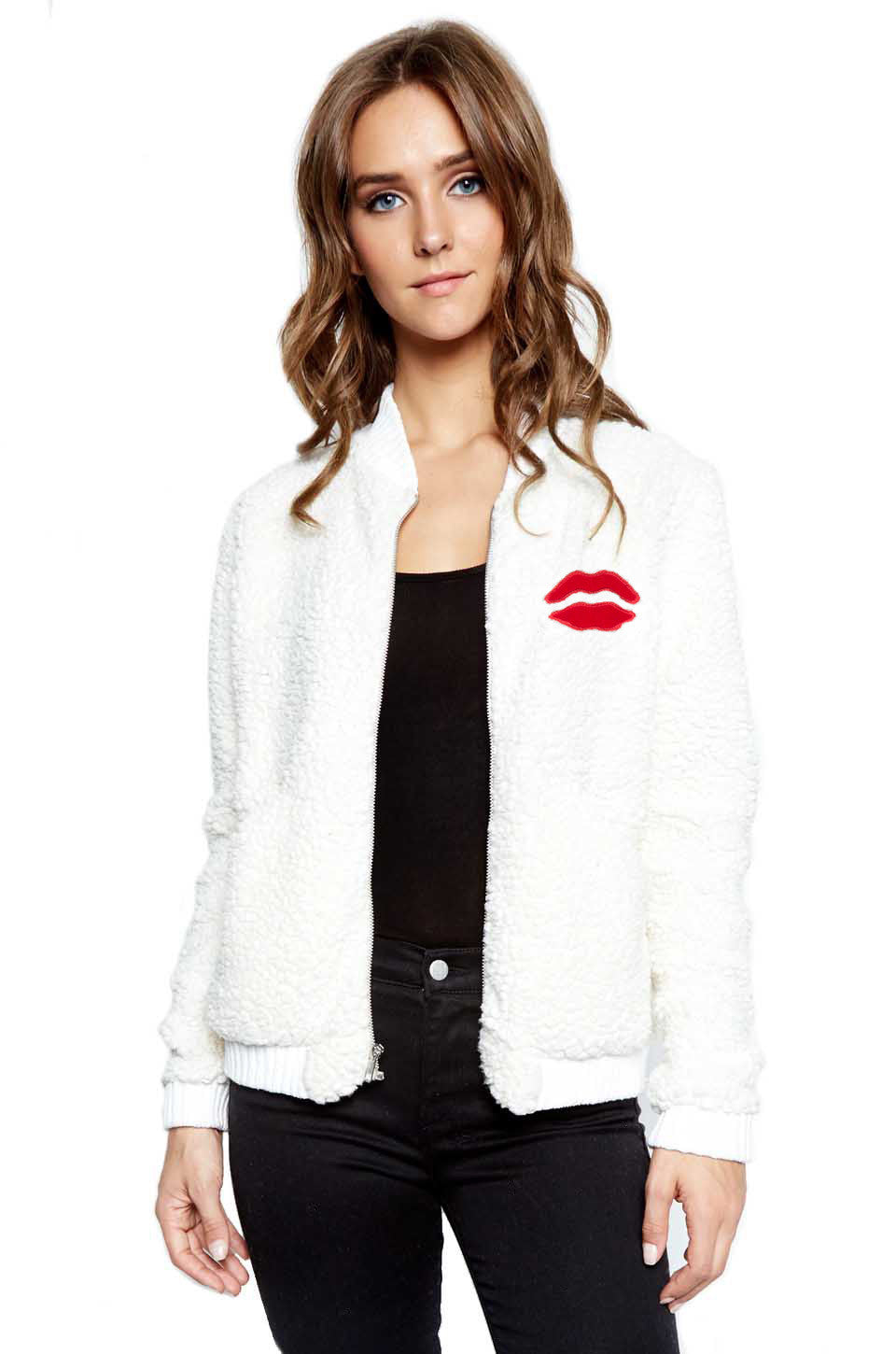 EXCLUSIVE! Hartley Red Mouth Patch Faux Fur Jacket - Lauren Moshi - 1