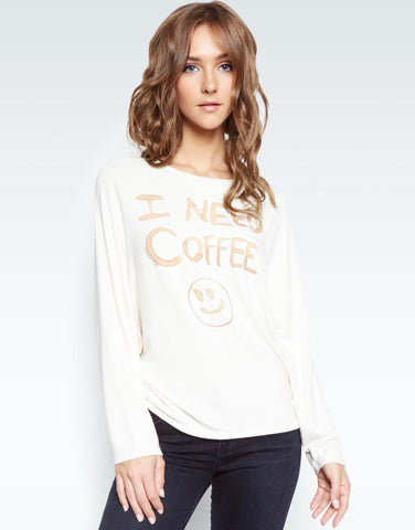 Lauren Moshi Women's Semira I Need Coffee Pullover - Silk