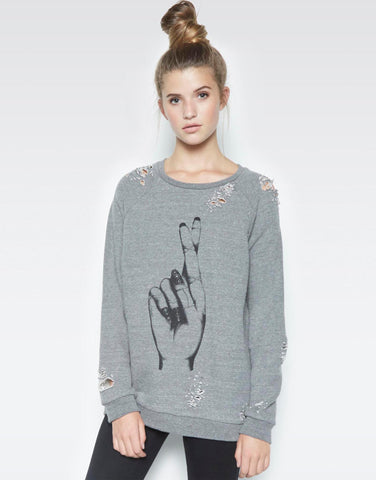 Jetta Fingers Crossed w/Text Oversized Distressed Pullover - Lauren Moshi - 1