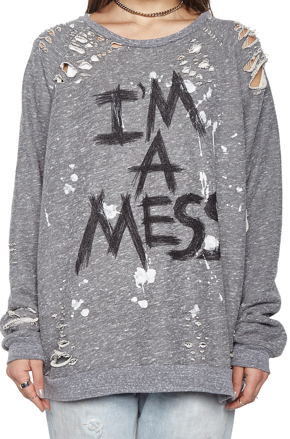 Lauren Moshi Women's X Exclusive X Jetta I'm A Mess Oversized Distressed Pullover
