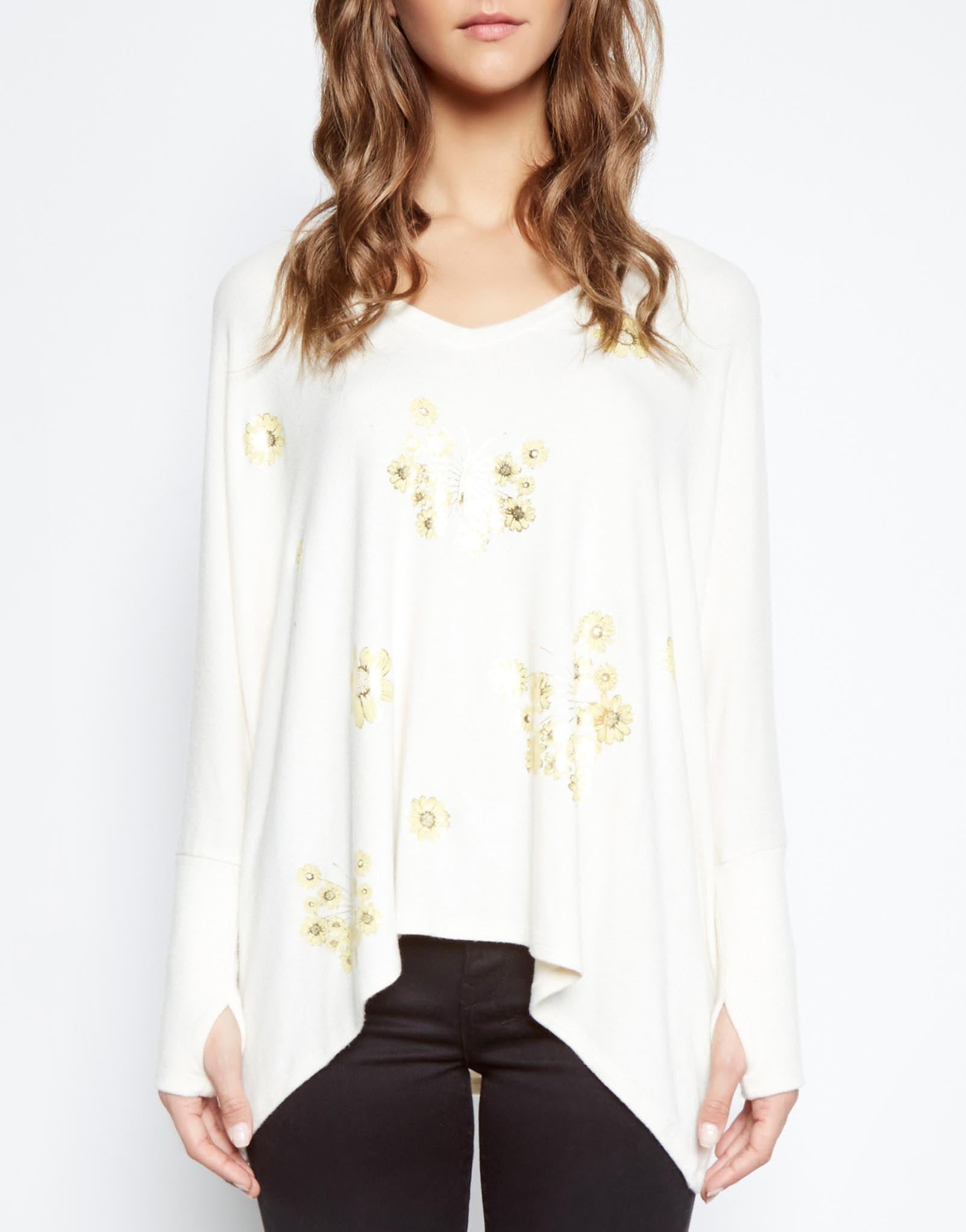 Lauren Moshi Women's Bali Mini Sunflower Butterfly Oversized V-Neck Pullover w/Thumbholes - Silk