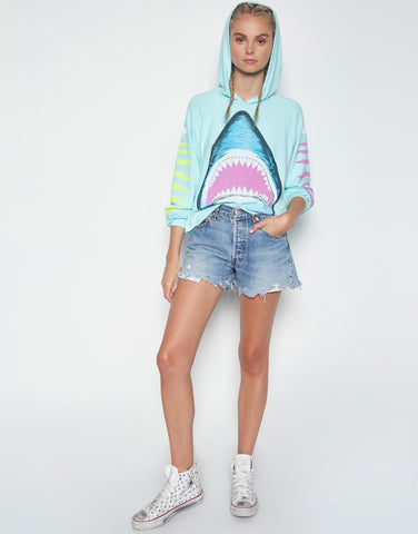 Lauren Moshi Women's Oceana Bright Shark Crop Pullover w/Hood