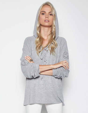 Lauren Moshi Women's Cali Stitched Love w/ Elements L/S Lace Up Hoodie - Heather Grey
