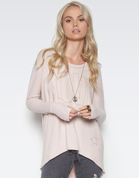 Lauren Moshi Women's Vera Love Stitched Embroidery Pullover w/ Back Slit - Blush