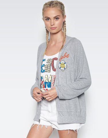 Lauren Moshi Women's Dorothy Mermaid Patches Zip Up Hoodie - Heather Grey