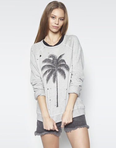 Lauren Moshi Women's Darby Palm Vintage Pullover - Heather Grey