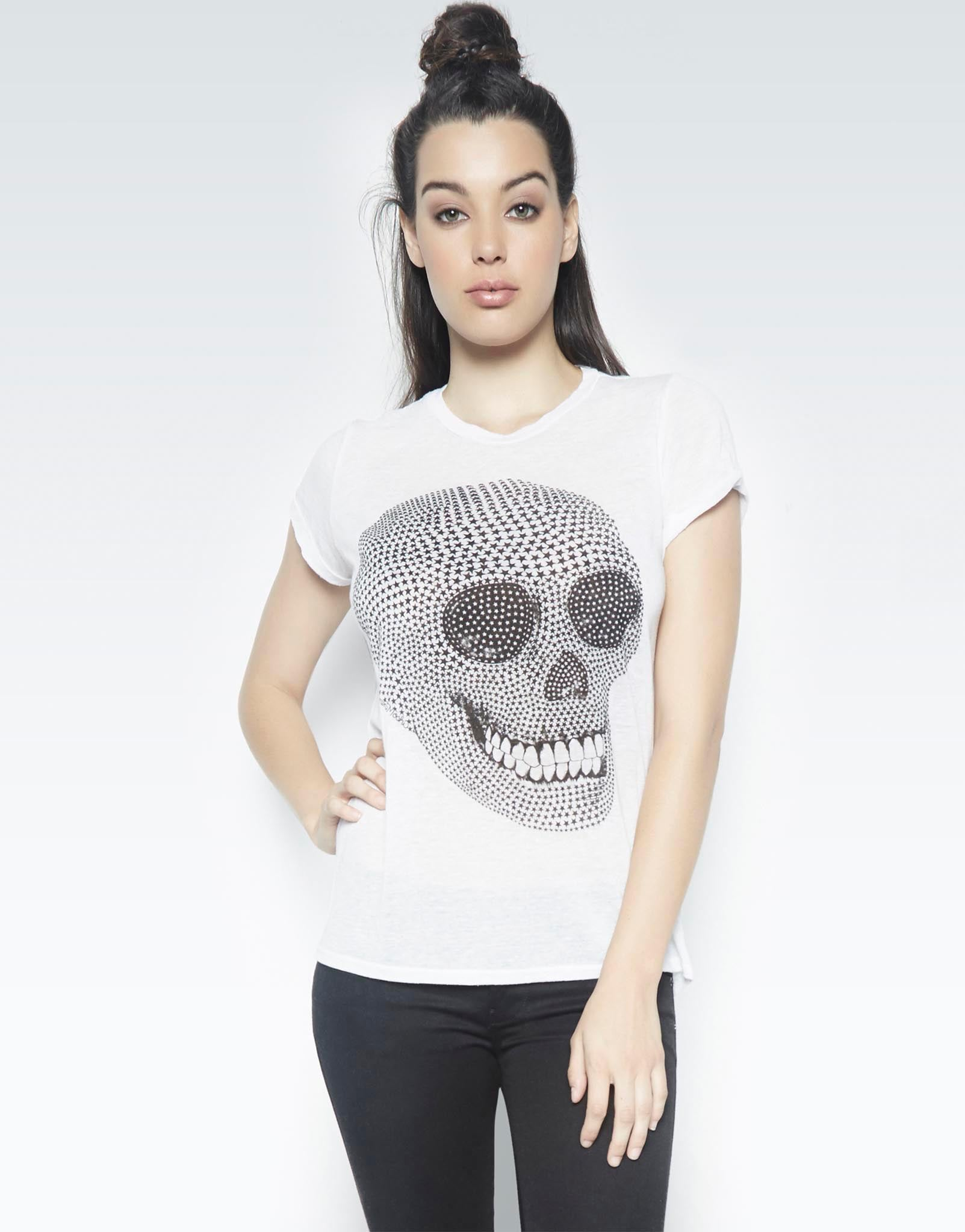 Edda Mini Star Skull Vintage Tee Roll Up Slv - Lauren Moshi - 1