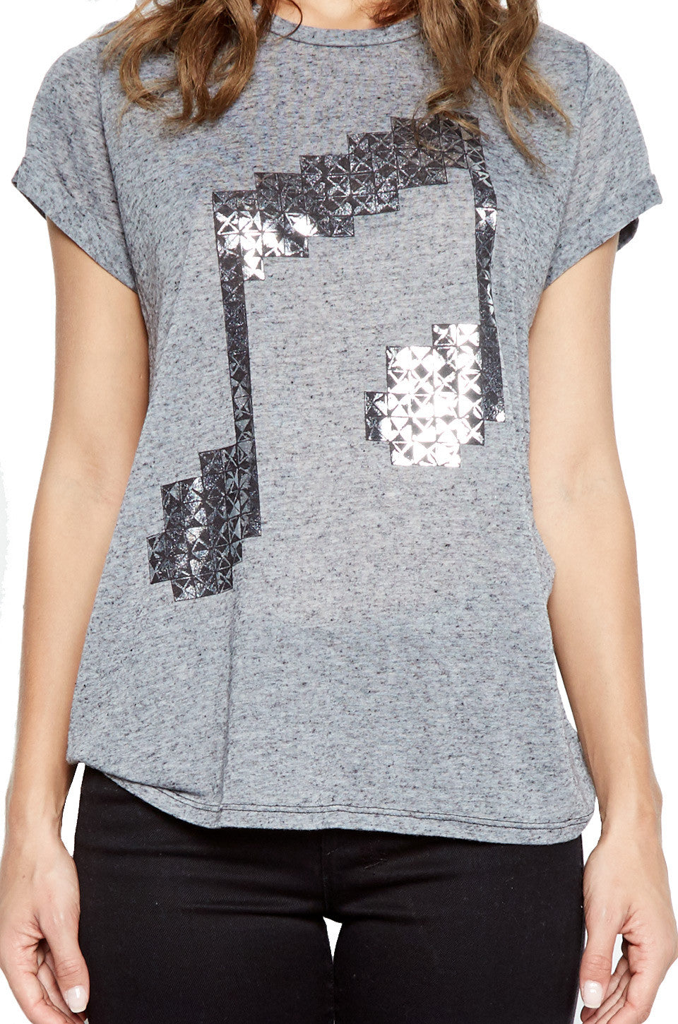 Edda Stud Music Note Vintage Tee Roll Up Sleeve - Lauren Moshi