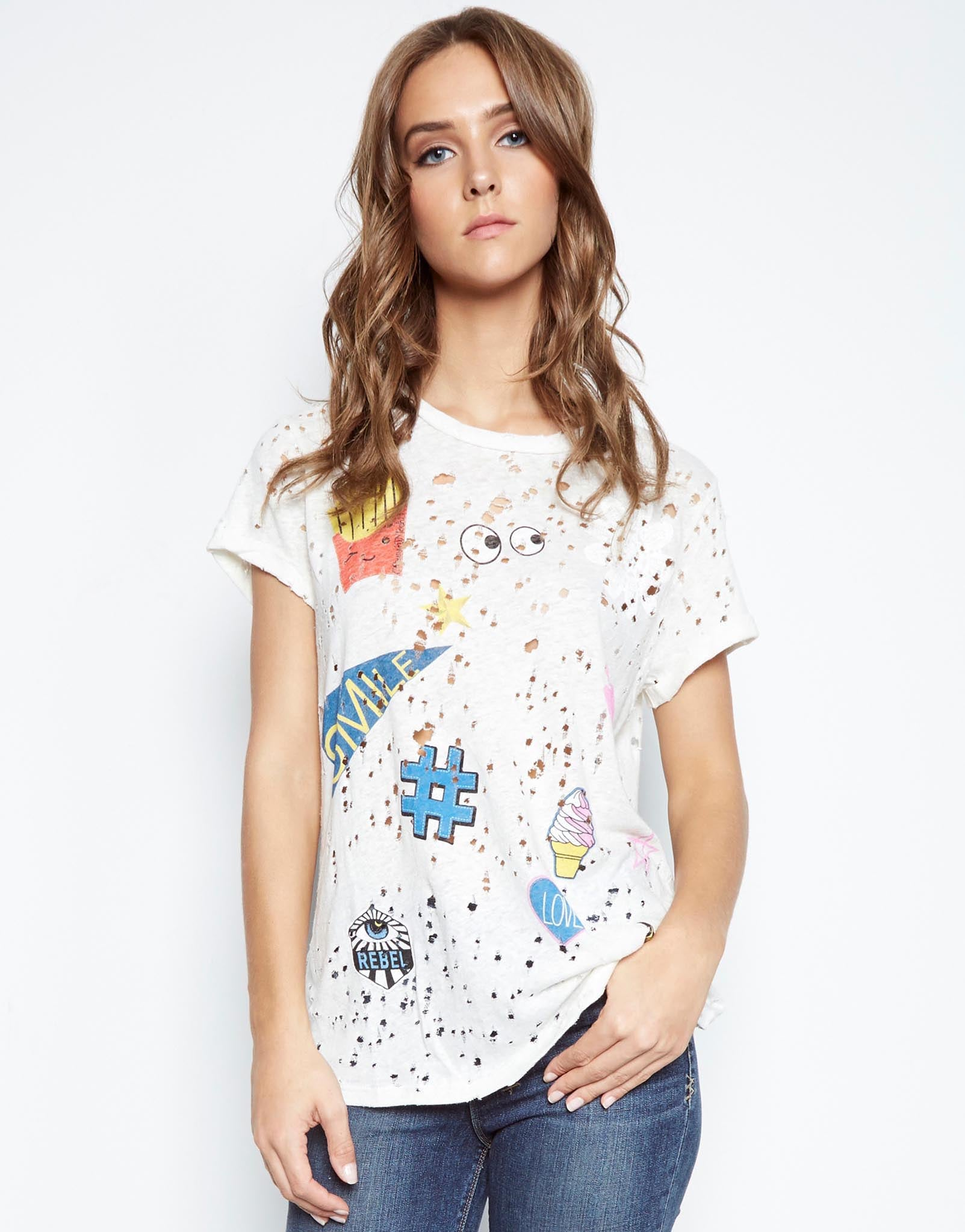 Bess Love & Smile S/S Roll Up Slv Vintage Tee - Lauren Moshi