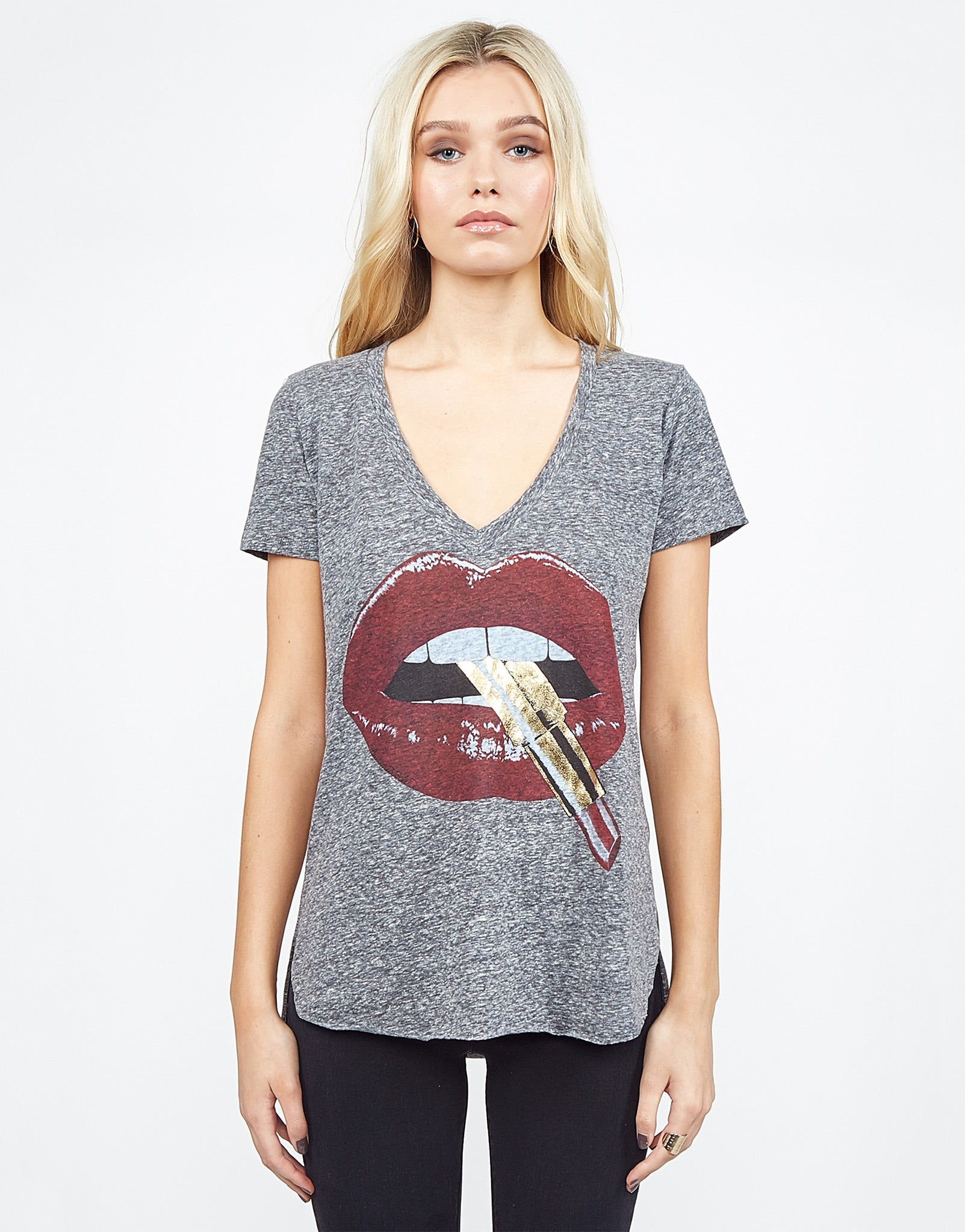 Emmalyn Foil Red Lipstick Mouth S S V-Neck Scoop Raw Hem Tee 95366a8705b2a
