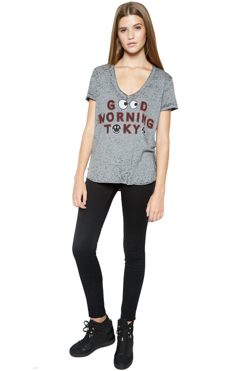 Emmalyn Good Morning Tokyo S/S V-Neck Scoop Raw Hem Tee - Lauren Moshi - 2