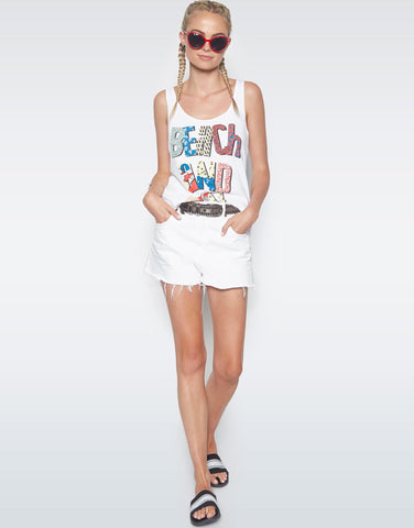 Lauren Moshi Women's Parson Beach & Sun Fun Classic Scoop Tank - White
