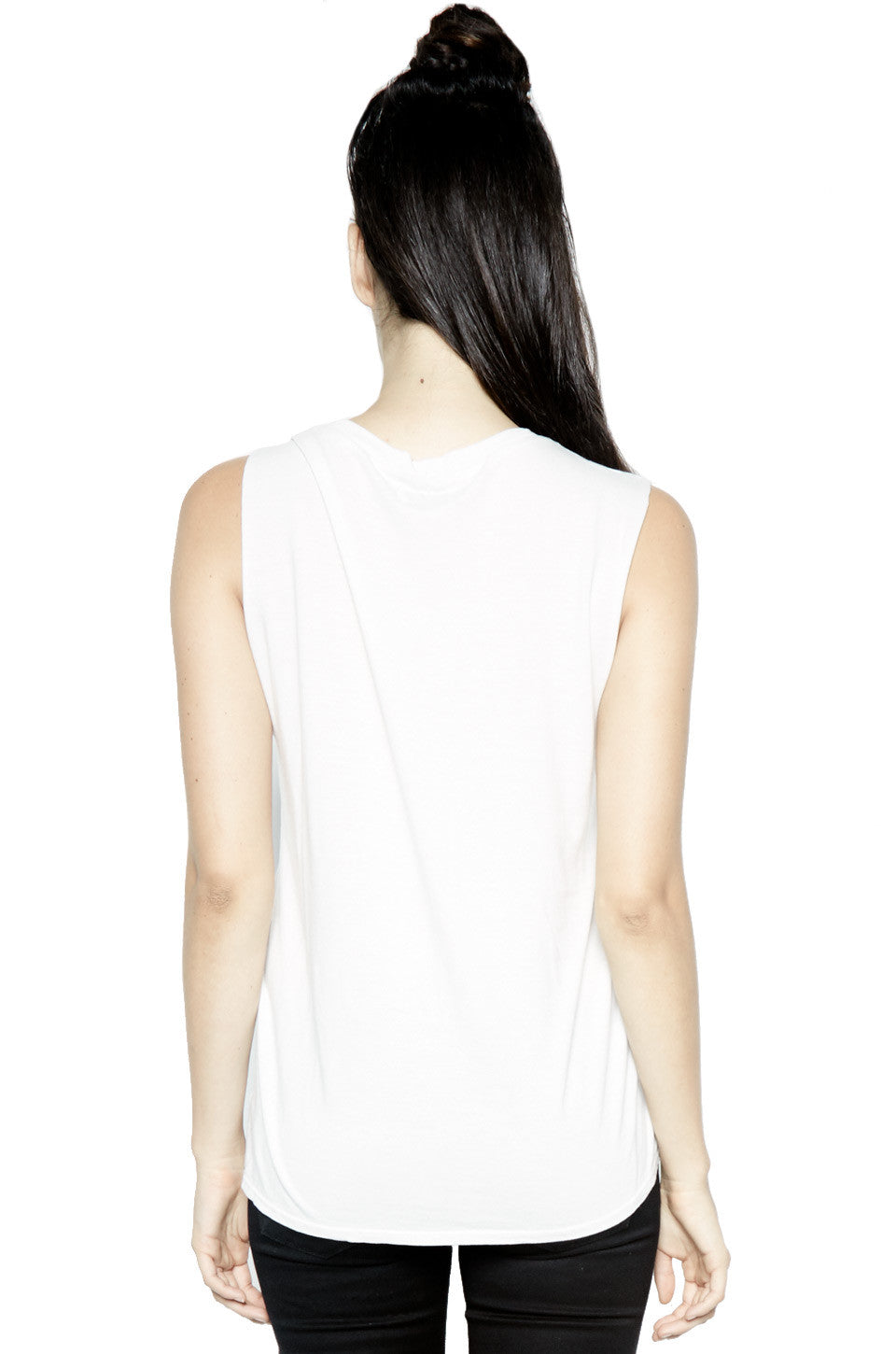 Lauren Moshi Women's Kel Charm Face Scoop Neck Muscle Tank - Milk