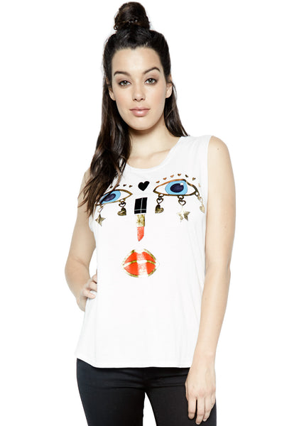 Lauren Moshi Women's Kel Charm Face Scoop Neck Muscle Tank