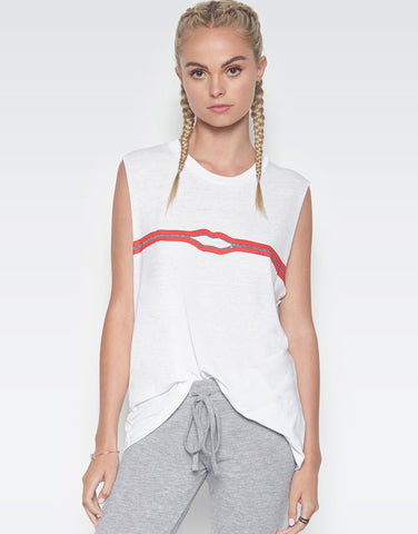 Lauren Moshi Women's Kel Zipper Lip Scoop Neck Muscle Tank - White