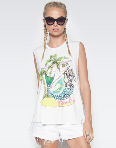 Lauren Moshi Women's Kel Paradise Skull Scoop Neck Muscle Tank - Milk
