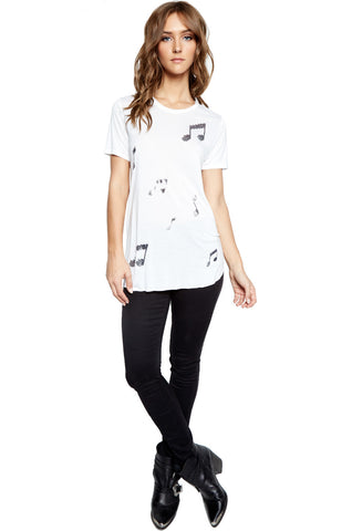 Lauren Moshi Women's Kelis Mini Stud Music Notes S/S Scooped Hem Tee - White