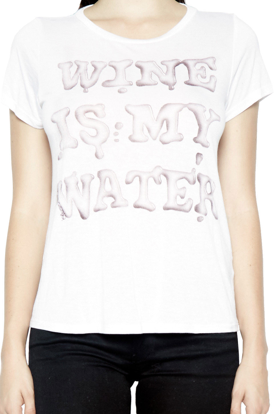 Lauren Moshi Women's Janie Wine is My Water Classic S/S Tee - White