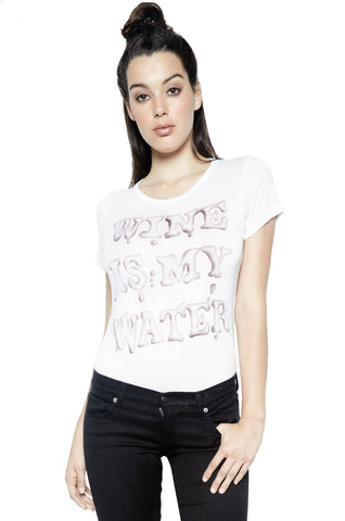 Lauren Moshi Women's Janie Wine is My Water Classic S/S Tee